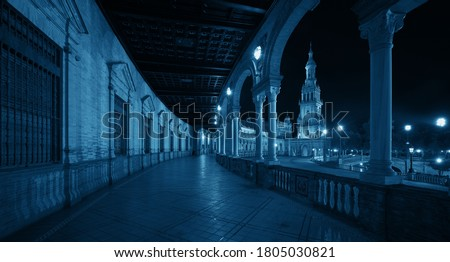 Plaza de Espana or Spain Square closeup view at night in Seville, Spain Stock photo ©
