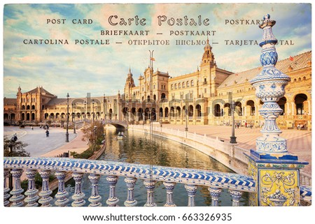 Plaza de Espana (Spain square) in Seville, Andalusia, vintage sepia paper background, word