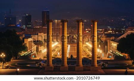 Plaza de Espana, The Venetian Towers, fountain and columns, view from The Palau Nacional in Barcelona, Spain. Night Stock photo ©