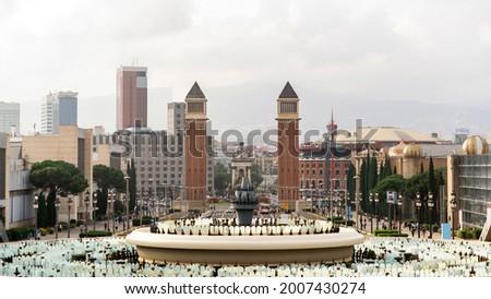 Plaza de Espana, The Venetian Towers, fountain, view from The Palau Nacional in Barcelona, Spain Stock photo ©