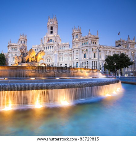 Plaza de la Cibeles (Cybele's Square) - Central Post Office (Palacio de Comunicaciones), Madrid, Spain.