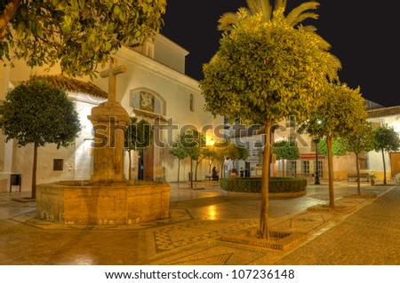 Plaza de la Iglesia square in old town surprised in the night,Marbella,Spain.