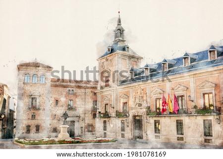 Plaza de la Villa historic square in old town, central Madrid, Spain. 16th-century Casa de Cisneros palace and Casa de la Villa, the former city hall. Aquarelle, watercolor illustration. Foto stock ©