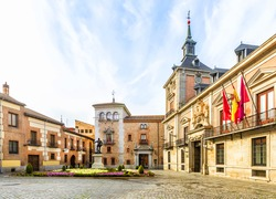 Plaza de La Villa in the old town of Madrid is probably the oldest civil square dating back to 15th century. Spain.