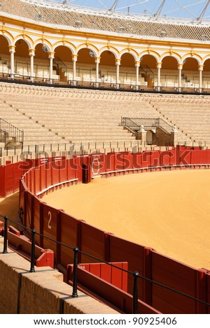 Plaza de toros de la Real Maestranza de Caballeria de Sevilla or simply Plaza de Toros of Seville is the oldest bullring in Spain. It was built in stone and wood beetween 1749 and 1881. - stock photo