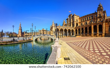 Shutterstock Plaza Espana on sunny day. Seville (Sevilla), Andalusia, Southern Spain.