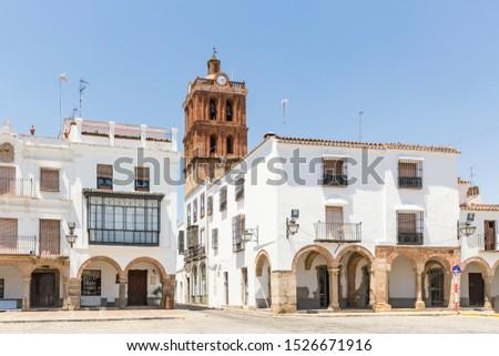 Plaza Grande square and the Candelaria church in Zafra, Province of Badajoz, Spain