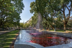 Plaza Independencia (Independence Square) fountain with red water like wine - Mendoza, Argentina - Mendoza, Argentina