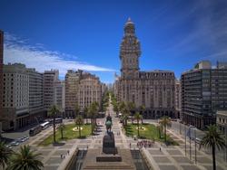 Plaza Independencia, Palacio Salvo, Aerial View of Montevideo, Uruguay.