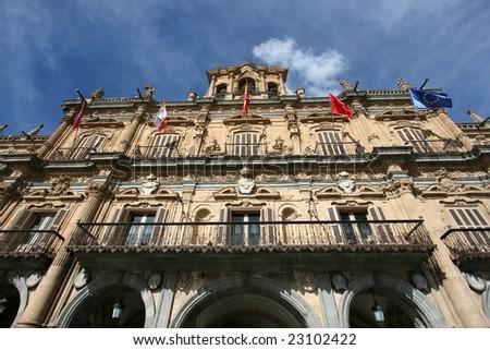Plaza Mayor building - main city square in Salamanca, Castilla y Leon, Spain - stock photo