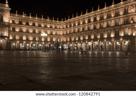 Plaza Mayor in Salamanca in Spain by night