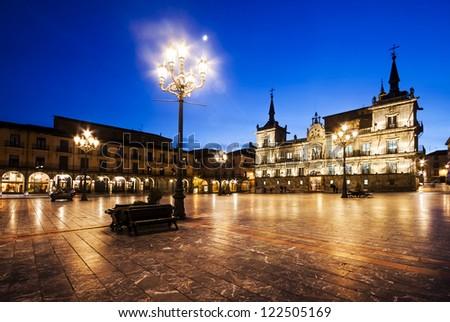 Plaza Mayor(main square) in Leon, Castilla y Leon, Spain