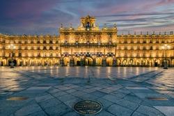 Plaza Mayor square at sunrise, Salamanca, Castile and Leon, Spain