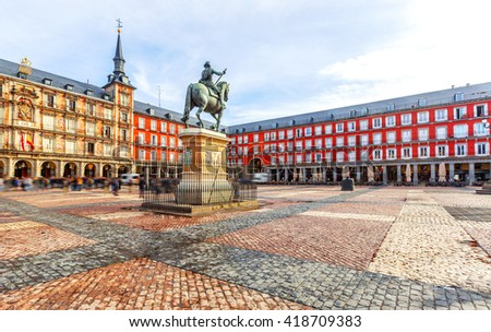 Plaza Mayor with statue of King Philips III in Madrid, Spain Foto stock ©