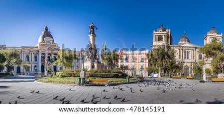 Shutterstock Plaza Murillo, Bolivian Palace of Government and Metropolitan Cathedral - La Paz, Bolivia