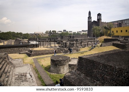 Plaza of the Three Cultures, Plaza de las Tres Culturas, Ancient Aztec City of Tlatelolco, where Aztecs staged last battle against Cortez in Mexico City, Mexico.