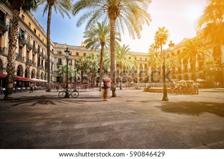 Plaza Real (Royal Square) on a summer day, Barcelona, Spain Foto stock ©