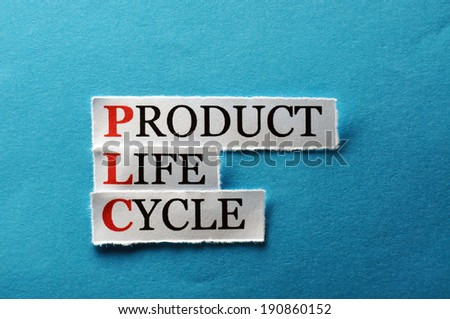 PLC Product Life Cycle, words on cut paper hard light