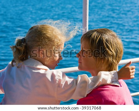 pleasant conversation between mother and daughter on shipboard