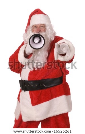 Pleasant middle-aged bearded man in a santa suit with loud hailer/megaphone pointing at camera isolated on a white background