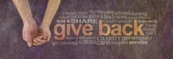 Please donate to our cause - campaign banner with female hand holding male cupped hand on left and a GIVE BACK word cloud  on right against a rustic parchment background