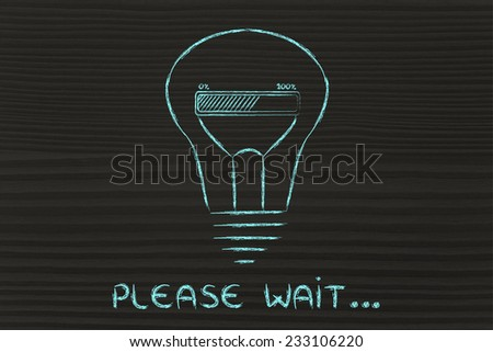 Please wait, progress bar inside a lightbulb: concept of idea loading or developing an innovation #233106220
