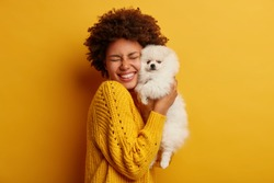 Pleased happy Afro girl gets lovely puppy, plays and embraces four legged friend with love, stands against yellow background, wears knitted jumper. Woman hugs Pomeranian spitz. Humans and dogs