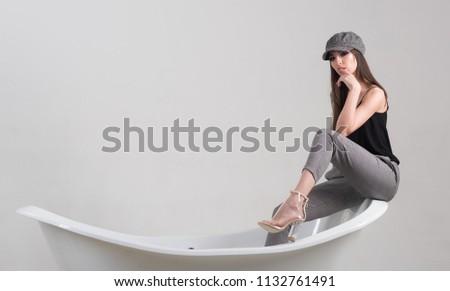 Pleasure concept. Woman take pleasure in bathroom. Pleasure and wellbeing. Find pleasure in daily routine, copy space. #1132761491