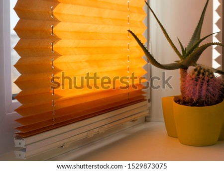 Pleated blinds with orange folded fabric on the window close up. On the windowsill stands home plant in yellow flower pot. Cordless pleated shade with white lower bar.