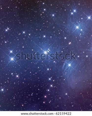 Pleiades Star Cluster, M45, Seven Sisters, An Open Cluster in Taurus