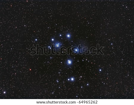 Pleiades, the Seven Sisters Star Cluster