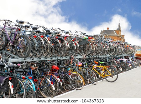 Plenty bicycles at parking lot in