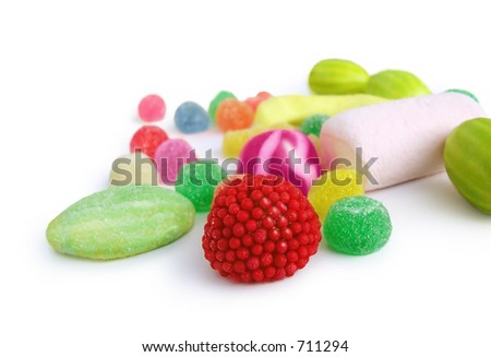 Plenty of jelly sweets - bonbons. Isolated on white