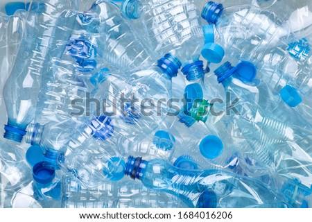 Plenty of plastic bottles on white background top view ストックフォト ©