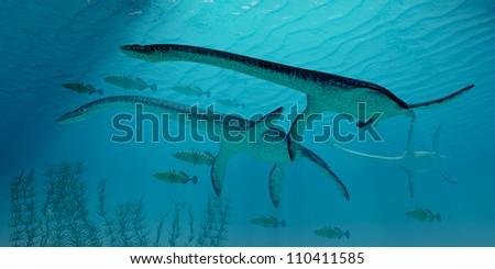 Plesiosaurus Migration - Three Plesiosaurus dinosaurs migrate along with a school of fish to warmer Jurassic seas.