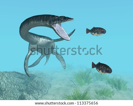 Plesiosaurus While Hunting Computer generated 3D illustration