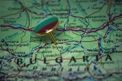 Pleven pinned on a map with flag of Bulgaria