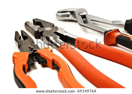Pliers on a white background with space for text