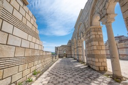Pliska, Bulgaria and the Ruins of The Great Basilica - largest Christian cathedral in medieval Europe near The capital city of the First Bulgarian Empire.