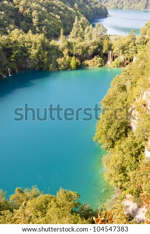 Plitvice lakes aerial view. National park in Croatia. UNESCO place.