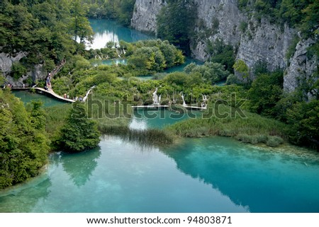 Plitvice lakes and waterfalls in Croatia. Aerial view. One lake flows into another