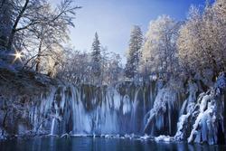 Plitvice lakes of Croatia (Hrvatska) - national park in winter