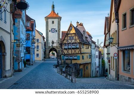 Plonlein, the famous photo spot of Rothenburg ob der tauber, Bavaria, Germany.