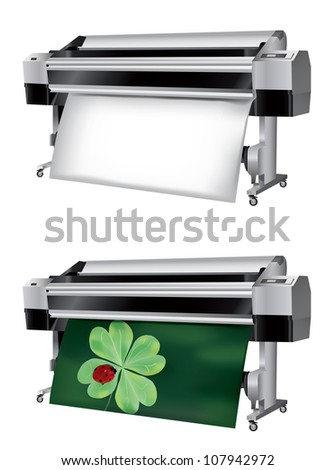 Plotter with roll of paper not printed and printed with ladybug on four-leaf clover