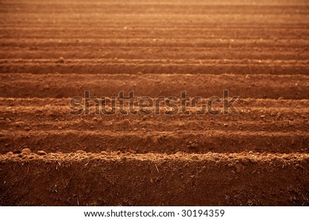 Ploughed red clay soil agriculture fields ready to sow - stock photo