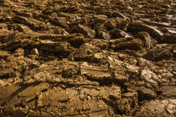 Ploughed soil at Woodend near Morham, East Lothian, Scotland.