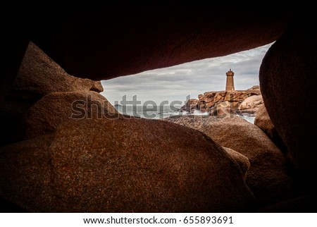 Shutterstock Ploumanac'h Mean Ruz lighthouse between the rocks in pink granite coast, Perros Guirec, Brittany, France.