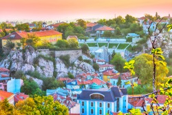 Plovdiv, Bulgaria aerial skyline panorama with Roman amphitheatre and houses