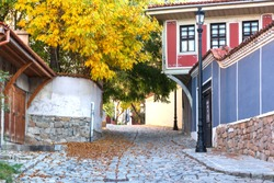 Plovdiv, Bulgaria.The street of the Old Town with renaissance buildings is decorated with autumn tree and fallen leaves. Autumn cityscape.