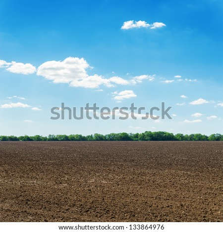 plowed black spring field and white clouds on blue sky